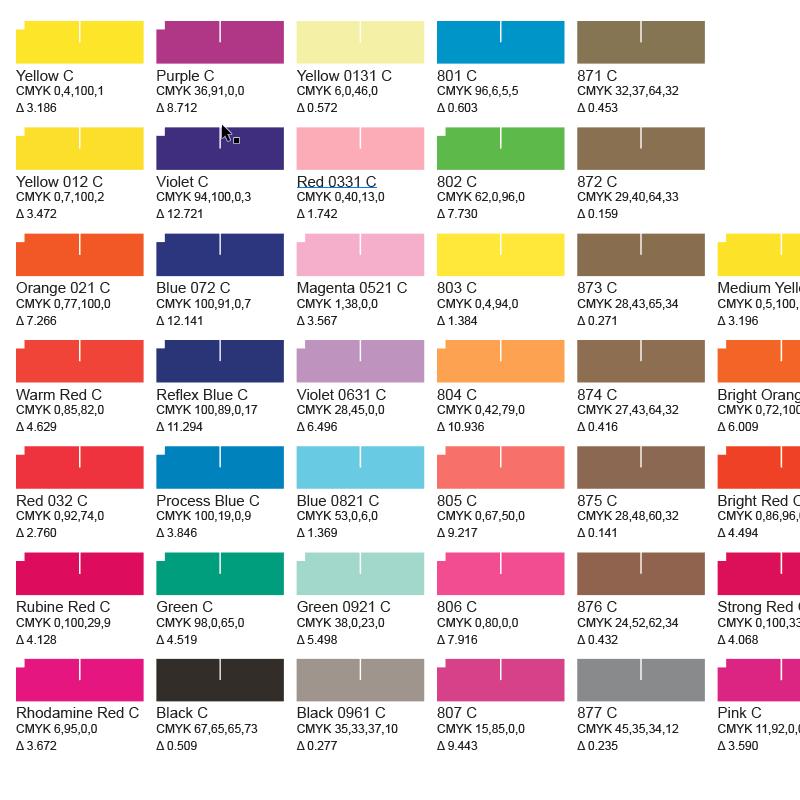 Spot Color Chart Creator Powerscript